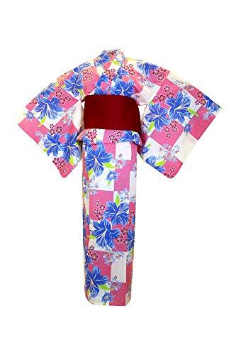 ノベルティ呪われた王女myKimono Women 's Traditional Japanese着物ローブ浴衣491 with Obi Belt /ピンク&ブルー