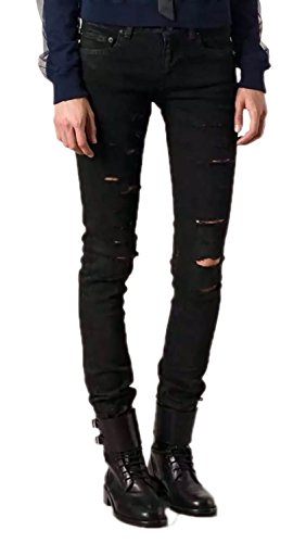 OKilr Pjik Men's Vintage Black Skinny Fit Ripped Distressed Destroyed Cotton Denim Jeans 33