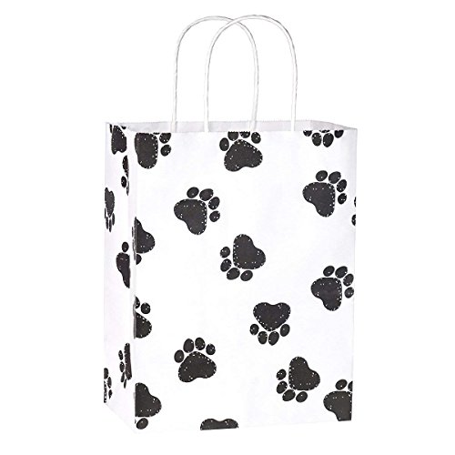 Gift Bags 25Pcs 8x4.75x10.5'' BagDream Shopping Bags, Paper Bags, Kraft Bags, Retail Bags, Holiday Party Bags, Dog's Paw Prints Paper Bags with Handles, paw print gift bags by BagDream