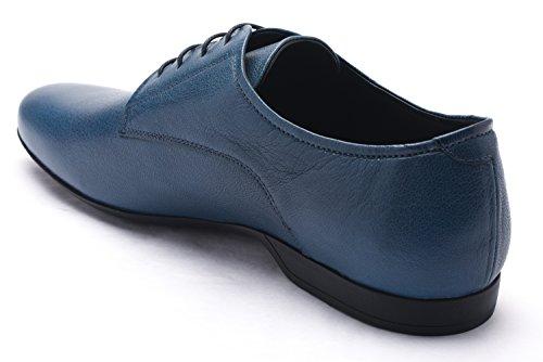 Versace Collection Mens Leather Oxford Lace-Up Dress Shoes Blue fArPkY