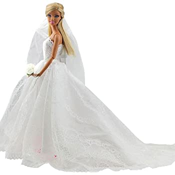 Barwa Wedding Dress With Veil White Princess Evening Party Clothes Wears Outfit Set For Barbie