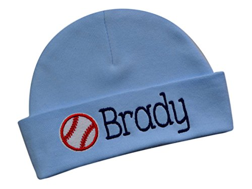 - Funny Girl Designs Embroidered Baby Boy Hat Personalized Keepsake Custom Infant Hat with Baseball (Blue HAT)