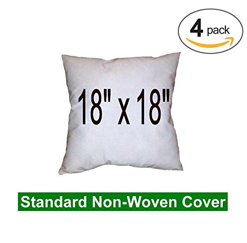 """Pillow Inserts - Polyester Filled - Regular Shell, 18x18"""" (Quad Pack)"""