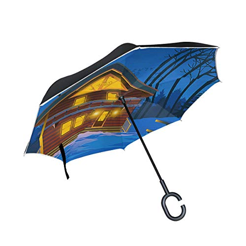 Reverse Umbrella,Alpine Chalet At Night Inverted Night Reflective Edge Golf Umbrellas,Double Layered Polyester Canopy,O-Shape Handle ()