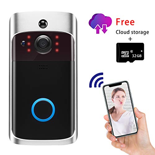 (Video Doorbell Camera Wi-Fi with Motion Detector, Doorbell Security Camera with Two-Way Talk, IP55 Waterproof, Wide Angle, Night Vision, Push Notification, Free Cloud Storage and 32GB SD Card)