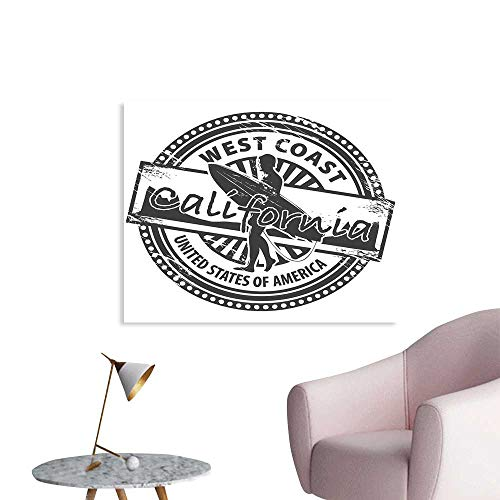 J Chief Sky Ride The Wave Wall Art Canvas Prints West Coast California United States of America Grunge Vintage Stamp Print Wall Art Living Room Decoration W32 xL24