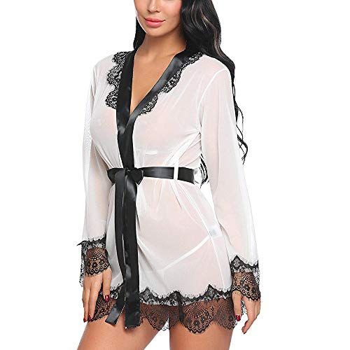 Women's Lace Kimono Robe Lingerie Babydoll Silk Sheer Nightwear with Belt, Loom Black Thongs Panties Tank Slim Essential Bra Bras Athletic Socks Active Proof Fair Extreme Cold (White M)
