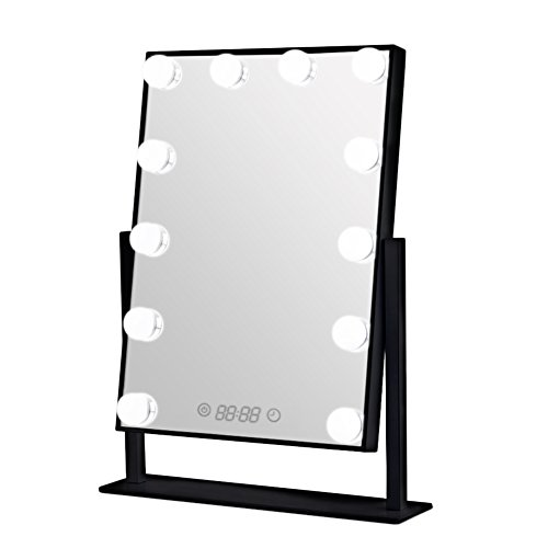 (Geek-House Lighted Vanity Mirror Hollywood Style Makeup Tabletops, Large Cosmetic Mirror with 12 x 3W Super Bright Dimmable Touch Control LED Bulbs and Clock, Black)