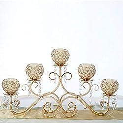 "Efavormart 5 Arm 16"" Crystal Chandelier Gold Metal Horizontal Table Standing Candelabra Wedding Centerpiece Candle Holder"
