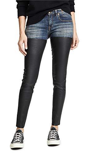 R13 Women's Leather Chap Jeans
