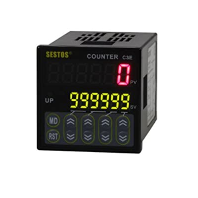 Sestos Industial 6 Digital Preset Scale Counter Tact Switch Delay Relay Controller, AC 100-240V CE C3E-R-220
