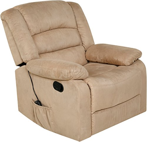 Relaxzen 60-701008M Rocker Recliner with Heat, Massage, USB, Beige Microfiber