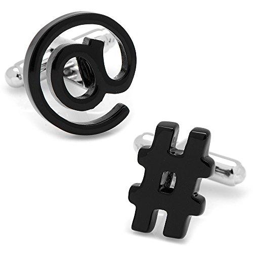 Cufflinks Inc Mens Plated Social Media Cufflinks (Black)