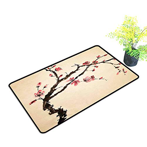 - Interesting Doormat Japanese Traditional Chinese Paint of Figural Tree with Details Brushstroke Effects Print W16 xL20 Easy to Clean Carpet Pink Brown