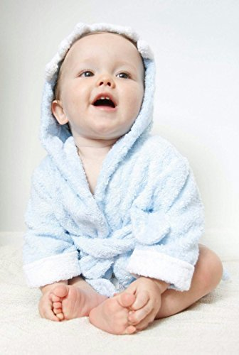 LUXURY Hooded Baby Towel - ULTRA SOFT Organic Bamboo baby Towels / Bathrobe / Beach Towel / Girls and Boys / Newborn, Infants -12 months - Perfect For Baby Shower Gifts - UK BRAND - Infant Robes For Boys