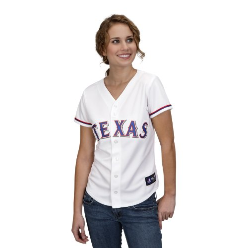 Replica White Rangers Jersey - MLB Women's Texas Rangers Ian Kinsler White Home Short Sleeve 5 Button Synthetic Replica Baseball Jersey by Majestic (White, XX-Large)