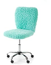 Urban Shop WK657594 Faux Fur Rolling Task Chair, Mint