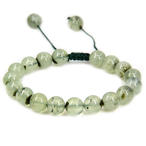 Natural Prehnite Gemstone 10mm Round Beads Adjustable Braided Macrame Tassels Chakra Reiki Bracelets 7-9 inch Unisex