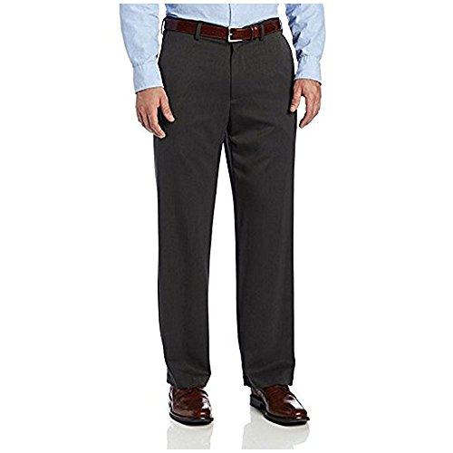 IZOD Men's Performance Stretch Straight Fit Flat Front Chino Pant, Charcoal, 40W x 29L
