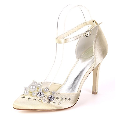 Toe Schuhe L cm YC Absatz Hohe Abend 9 Ferse Braut 5 Plattform Niedrigen Brautjungfern Chunky Closed Frauen Hochzeit r0Sq0v