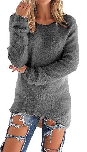 Donna Puro Vintage Asimmetrica Collo Irregolare Tops Invernali Rotondo Maglioni Casuale Moda Autunno Manica Pullover Lunga Eleganti Camicetta Colore qrSzCaq