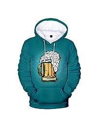 AMOUSTORE Hoodies,Men's 3D Print Hoodies Beer Printed Front Kangaroo Pocket Loose Fit Cool Hoodie foe Men