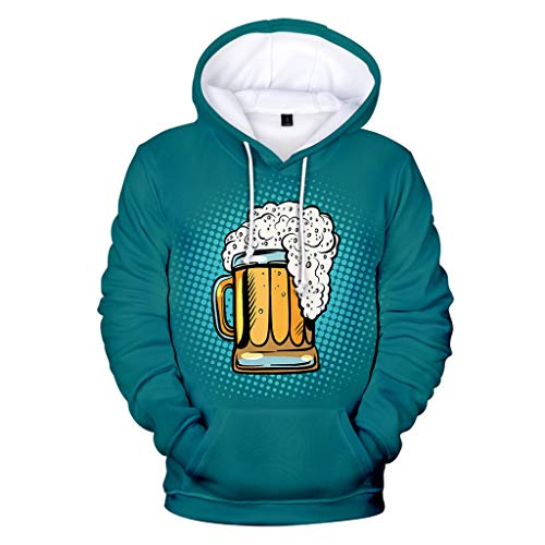 NIUQI Men's Beer Festival 3D Printing Long Sleeve Hoodies Sweatershirt Tops Mint Green