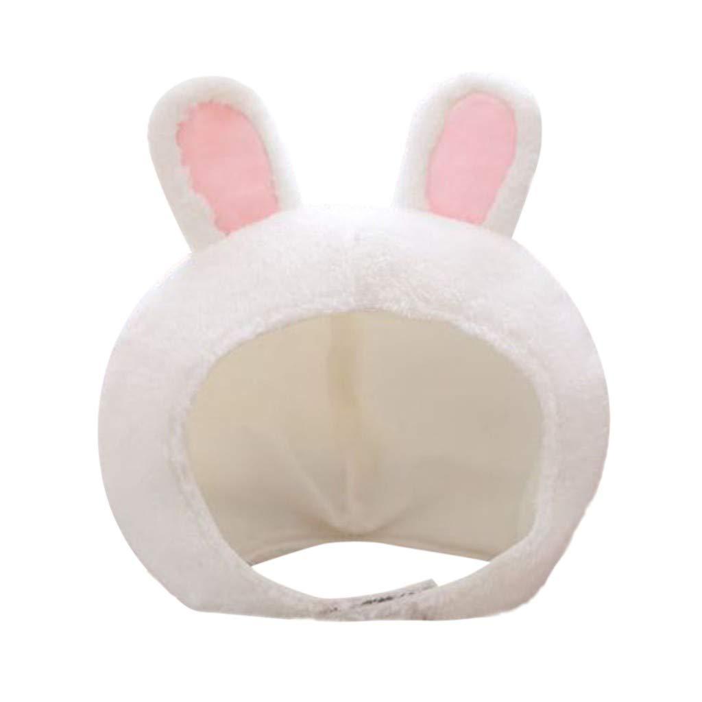 FEDULK Easter Cute Plush Fun Bunny Rabbit Animal Ears Hood Women Party Costume Hats Warm Soft Cozy(White)