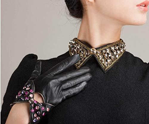 Calda Intarsiato Moda Diamanti Unita Elegante Tinta Donna Invernale Guanti Nero In Breve Sintetici Pelle EIxwZqq8RB