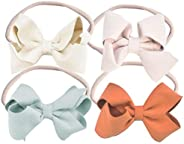 California Tot Bow Soft & Stretchy Nylon Headbands From Newborn to Girls, Mixed Set of 4