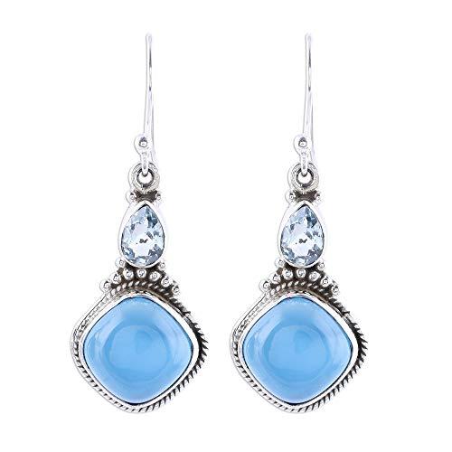 NOVICA Multi-Gem Chalcedony .925 Sterling Silver Dangle Earrings, Blissful Blue' (Earrings Chalcedony Blue Topaz)