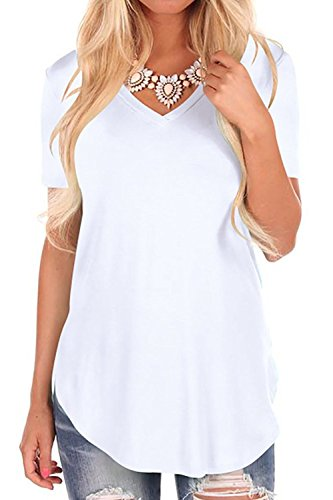 Fantastic Zone Women Solid Color Loose Fit Short Sleeve V Neck Lightweight Top Tee White M