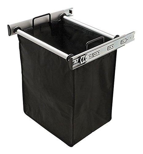 Synergy Hamper, aluminum, matt, 18'' width, pulls out with full extension slides, 1 black nylon bag included