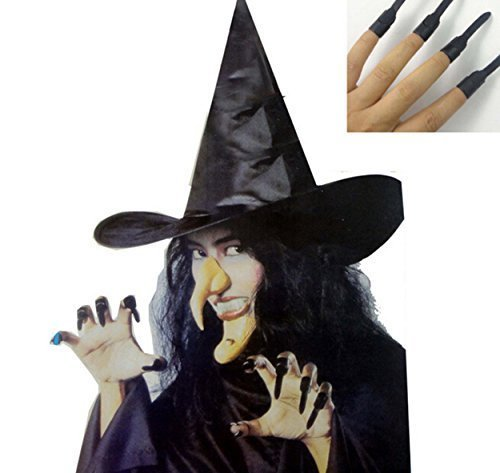 5 in 1 Witch Set for Costume Ball Halloween Party (Nose, Hat, Chin ,Teeth, Nails)]()