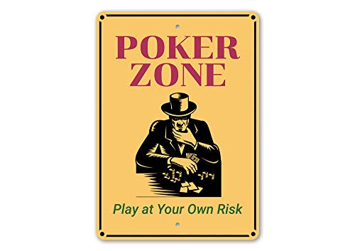 Wini2342ckey Poker Zone Sign Poker Zone Decor Poker Texas Holdem Decor Poker Gift Sign Poker Decor Room Decor Metal Sign Quality Metal