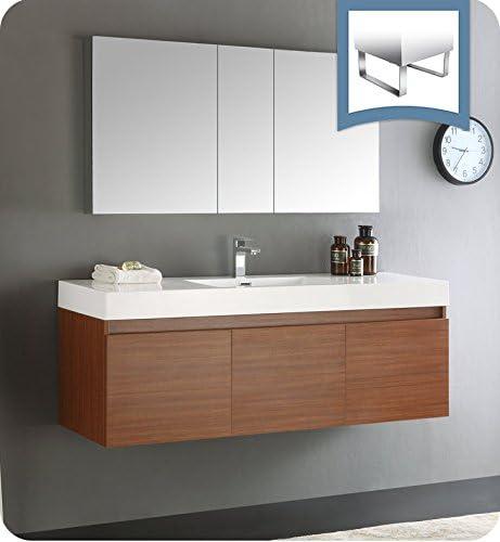 Fresca Mezzo 60″ Teak Wall Hung Single Sink Modern Bathroom Vanity w/Medicine Cabinet