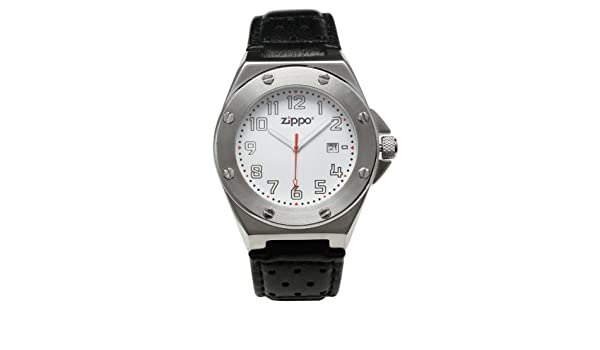 Zippo 45008 - Reloj analógico de cuarzo para hombre con correa de piel, color negro: Amazon.es: Relojes