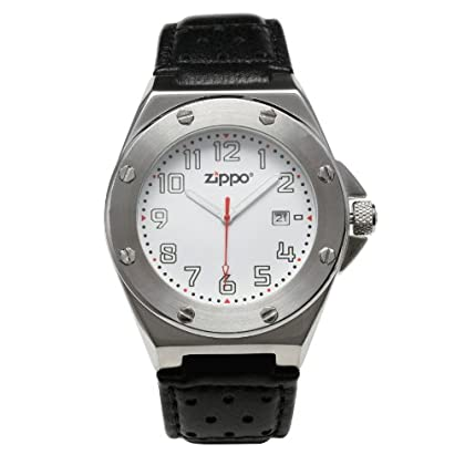 Zippo Casual Watch with White Dial/Black Leather Strap and Brushed Chrome Buckle