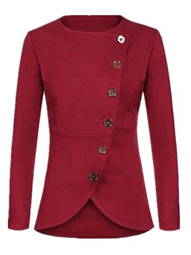 Soprabito Colore Puro Manica Kerlana Outwear Red Cardigan Donna Casual Lunga Moda Cappotto Bottone Giacca 1nxX0qw0B
