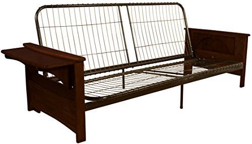 et Attached End Table Style Frame Futon Sofa Sleeper Bed Frame, Full-size, Mahogany Arm Finish (Mahogany Futon Frame)