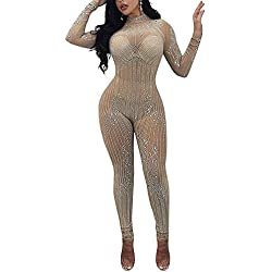 Rela Bota Women's Sexy Long Sleeve Turtleneck Bodycon Sequin See Through Mesh Jumpsuits Long Romper Pants Clubwear Large Apricot