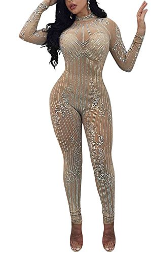 (Rela Bota Women's Sexy Long Sleeve Turtleneck Bodycon Sequin See Through Mesh Jumpsuits Long Romper Pants Clubwear Large)