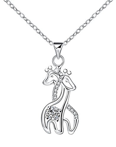 Godyce Giraffe Pendant Necklace Sterling Silver Plated for Women Crystal Jewelry Gift Plated Crystal Pendant