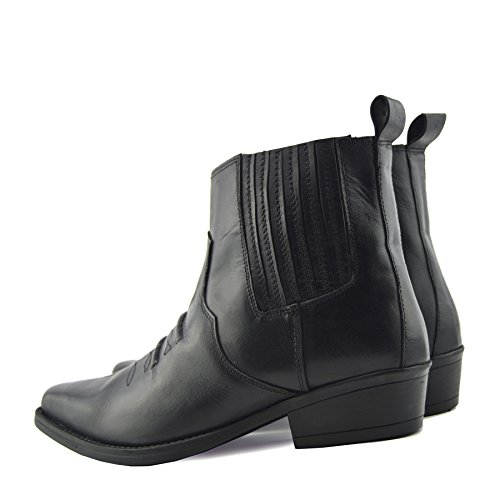 CityStyle4You Mens Cowboy Leather Ankle Biker Western Boots Black UYKw8ve
