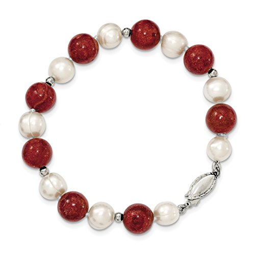 925 Sterling Silver Freshwater Cultured Pearl Stabilized Red Coral Bracelet 7.5 Inch Fine Jewelry For Women Gift Set (Pearl Pearl Bracelet American)