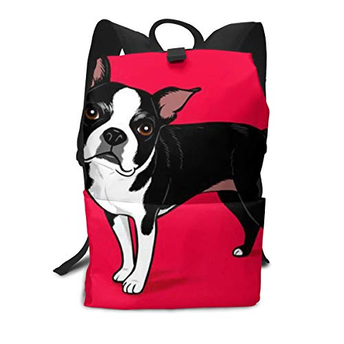 Boston Terrier Dog Red Daypack, Big Capacity Carry On Bag Camping Outdoor Backpack, Casual College School Daypack Casual Daypack Climbing Shoulder Bag Business Computer Bag