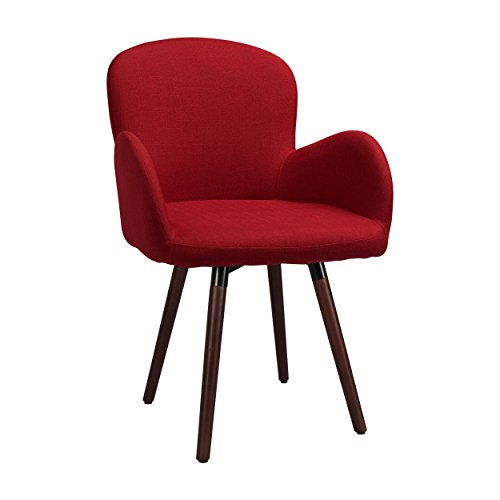Innovex AC544FBY London Upholstered Fabric Modern Décor Side Accent Chair with Solid Wood Legs, Burgandy