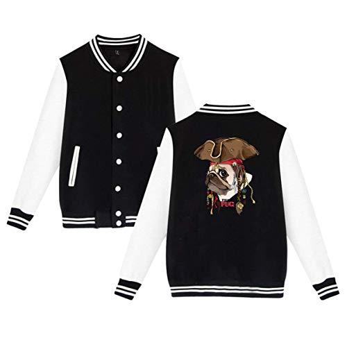 Jacket Portrait Collar - Men Women Stand Collar Long Sleeve Baseball Uniform Jacket Portrait of A Pug in Pirate Hat Sweater Coat with Pockets Black 29