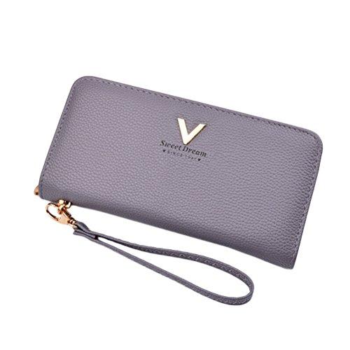 G-zebra Womens Wallet Long Leather Purse Multi Card Cellphone Holder Girl's Clutch Wallets Grey (Zebra Wallet Clutch)