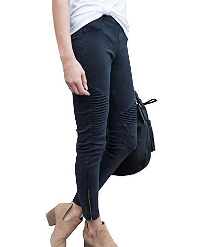 Skinny Femme Stretch Jeans Pants Leggings Jeggings Zipper Noir Crayon Slim Avec Casual Pantalons OnnRqUZ
